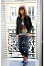 Navy-current-elliott-jeans-black-miu-miu-jacket