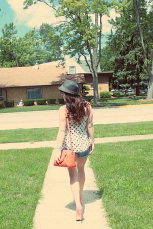 carrot orange OASAP bag - sky blue Victorias Secret shorts - white piperlime top