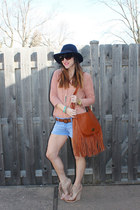 piperlime blouse - Gap hat - Amazon shorts - just fab wedges