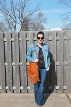 JC Penny top - 7 for all mankind jeans - Rachel Zoe bag - free people blouse