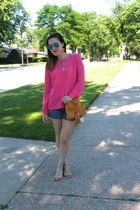 hot pink Forever 21 blouse - mustard Nordstrom bag - blue Gap shorts