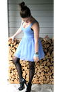 Black-nelly-shoes-black-bikbok-stockings-blue-bikbok-dress