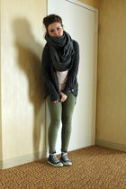 green BikBok leggings - gray Oasis cardigan - pink H&M top - gray BikBok scarf