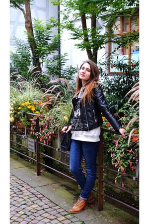 black H&M jacket - leather Caspian Sea boots - blue H&M jeans