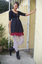 black MrPrice dress - white lace hand me downs stockings - black MrPrice boots -