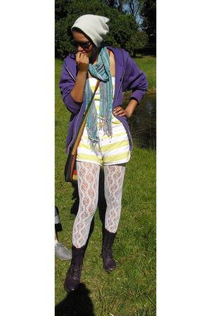 white stockings - purple Dr Martens boots - blue scarf - purple Puma jacket - gr