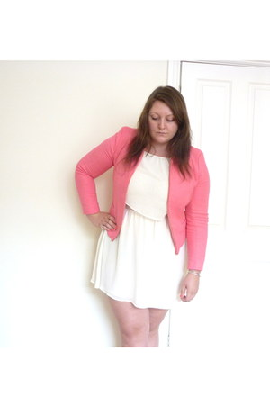 hot pink River Island jacket - white Topshop dress