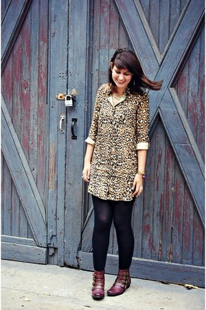 leopard print Urban Outfitters dress - buckle boots Urban Outfitters boots