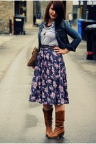 floral midi skirt - cropped jean jacket - bag
