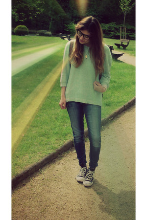 Converse shoes - Tally Weijl jeans - I am necklace - H&M hoodie - I am bracelet