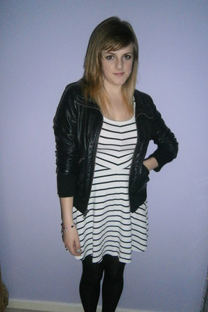 white H&M dress - black leather Topshop jacket
