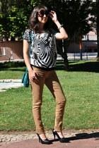 black BLANCO blouse - teal BLANCO bag - pink Prada sunglasses - black Aldo heels