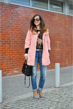 light pink tbdress coat - black Zara bag - Jennie Ellen heels