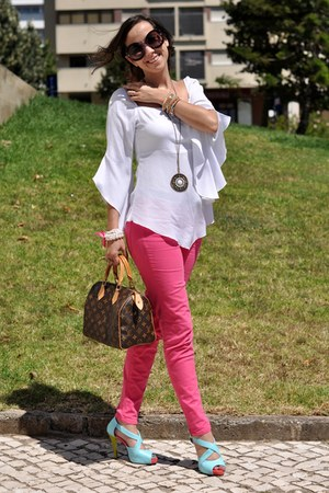 dark brown Louis Vuitton bag - hot pink Zara jeans - white Trucco blouse