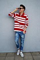 sky blue Zara jeans - red striped sweater - white Converse sneakers