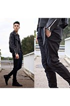 black rock pull&bear boots - black leather jacket - black quilted Zara pants