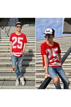 blue ripped Bershka jeans - red varsity t-shirt - white low Converse sneakers