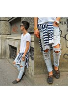silver ripped custom Zara jeans - white stripes sweater