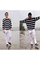 white Zara jeans - black sweater - black H&M loafers