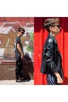 black Choies t-shirt - black Zara pants - black H&M sneakers