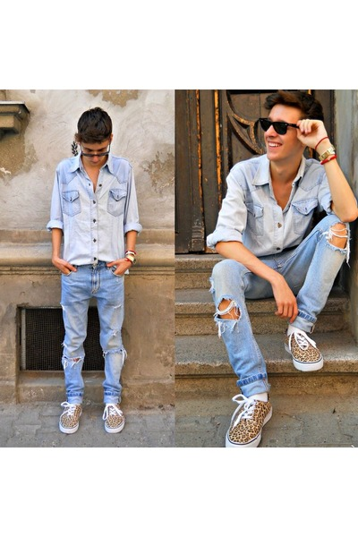 3d3c1046 Men's Light Blue Denim Shirts, Blue Ripped Zara Jeans |