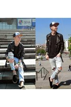 black summer shoes H&M shoes - blue ripped Zara jeans - black leather jacket