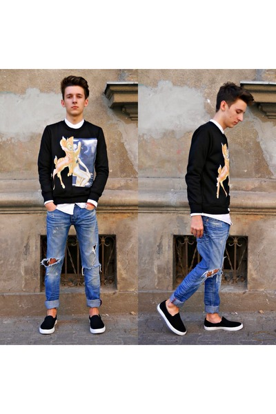 black bambi Choies sweater - blue ripped Bershka jeans