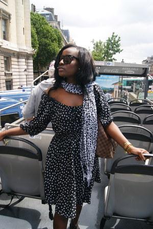 black asos dress - brown Louis Vuitton bag - black grey ant sunglasses - gold go