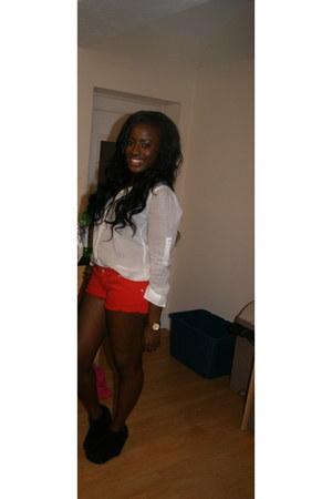 white H&M shirt - red Topshop shorts - black wedges - gold Michael Kors watch