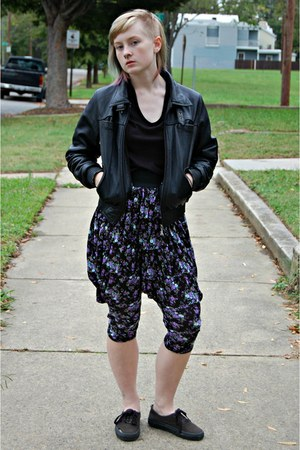 purple floral harem Forever 21 pants - black leather thrifted jacket