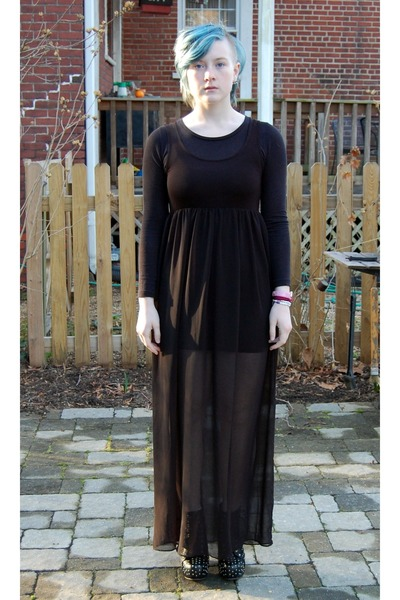 black chiffon Forever 21 dress - black Ebay heels