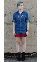black Forever21 wedges - brick red ThriftedDIY dress - blue Ralph Lauren blouse