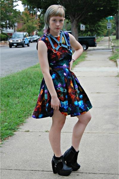 black Ebay heels - black DIY dress - light blue harness DIY necklace