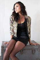 gold Topshop blazer - black French Connection top - black H&M skirt - black Expr