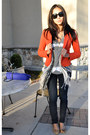 Blue-bdg-jeans-brick-red-h-m-blazer-heather-gray-national-geographic-shirt-