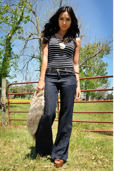 blue J Brand jeans - dark brown Topshop bag - camel H&M vest