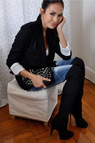 black Club Monaco blazer - blue Zara jeans - black Topshop boots - black Zara pu