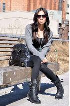 black Zara boots - gray Club Monaco sweater - silver Express necklace - black ba