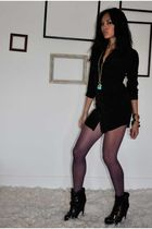 black UO dress - black Dolce Vita boots - purple UO tights - gold Express neckla