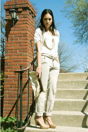 beige donna karen sweater - beige FCUK necklace - beige Zara pants - beige Aldo