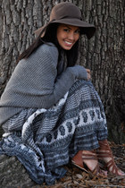 charcoal gray Club Monaco sweater - navy Arden B dress - dark brown Bebe hat