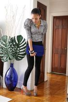 black Zara blouse - blue French Connection purse - gray BCBG shoes - black Zara