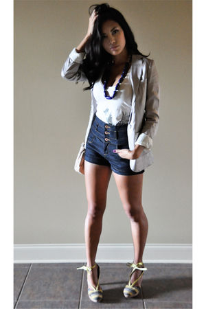 purple H&M blazer - blue Topshop shorts - white French Connection top - purple F