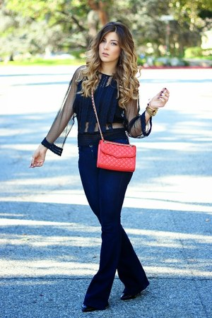 black Zara top - navy Guess jeans - red Rebecca Minkoff bag