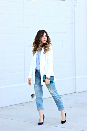 white Tobi blazer - light blue Levis jeans - sky blue Zara top