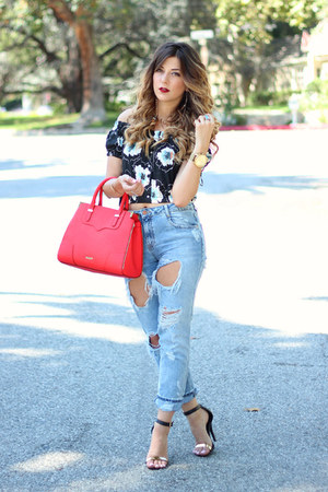 light blue Zara jeans - red Rebecca Minkoff bag - navy Zara top