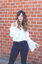 white PacSun top - navy Lucky Brand jeans - brown Sole Society pumps