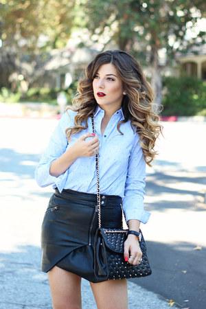 light blue Zara top - black Guess skirt - black BCBGeneration pumps