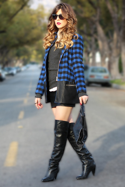 Zara coat - Marciano boots - Michael Stars sweater - Forever 21 skirt