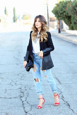 black Forever 21 blazer - sky blue Zara jeans